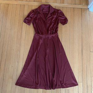 Dresses & Skirts - Vintage 1940s burgundy day dress sz XS